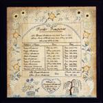 Margaret Anderson's antique family regester sampler, New Hamphire dated 1818 from Stephen & Carol Huber