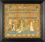 Huber - Needlework sampler by Girdler of Marblehead, MA