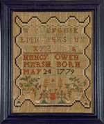 Antique sampler by Nancy Owen Marsh from Huber