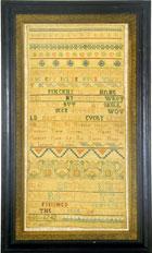 Needlework sampler wrought by Mary Pinckney Boston from Huber.