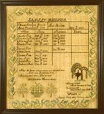 Abigil Rich Ware, MA antique needlework sampler from huber